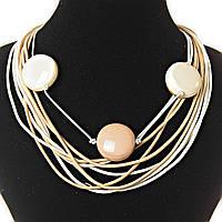 [30 мм] Ожерелье из нитей - светло-коричневый молочный цвет,  декор - бусины, крупные, круглые