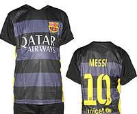 Детская (5-10 лет) футбольная форма ''Месси'' - ФК''Барселона'' (2015/2016) - черно-серая, резервная