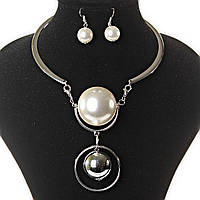 [15-40 мм] Колье кольцом + серьги Серебро и  Жемчужина со стальным шаром на жесткой основе