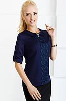 Женская блуза нарядная с рукавом 3\4 2065 синий