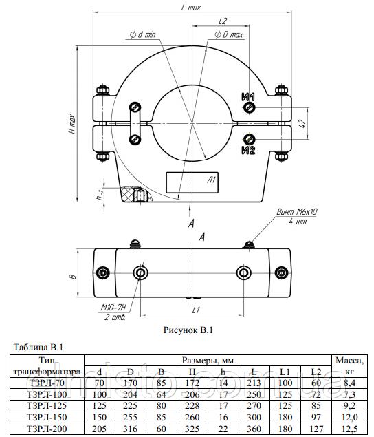 Габаритные, установочные и присоединительные размеры трансформаторов тока серии ТЗРЛ для защиты