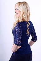Женская блузка с гипюровым рукавом 3/4 2005 синий