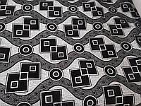 Рогожка флок Зигзаг черный обивочная ткань для мебели