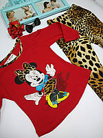 """Костюм трикотажный на девочку с леопардовыми лосинами """"Мини Маус"""""""