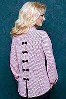 Женская блуза в горошек с бантиками 2055 розовый