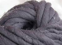 Толстая пряжа ручного прядения. 100% шерсть. Цвет Сталь