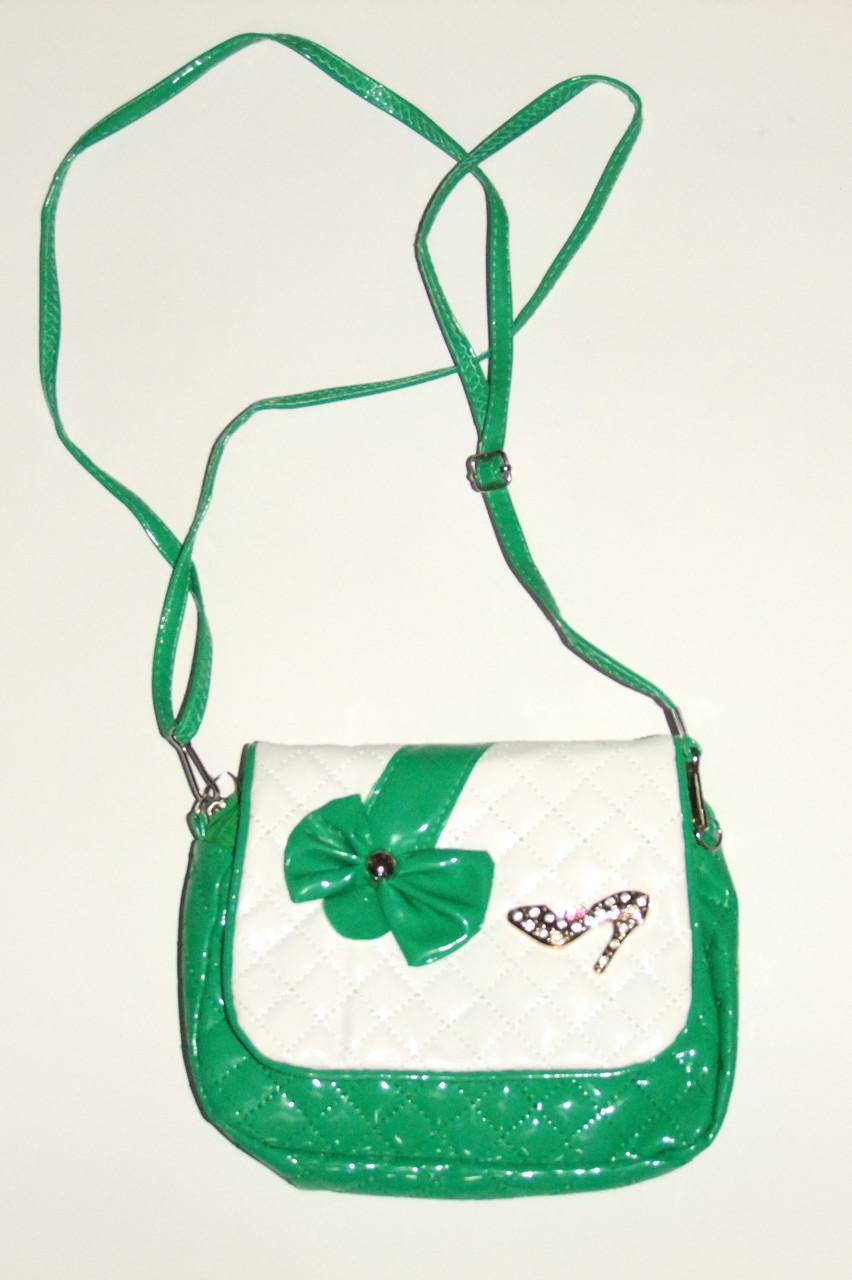 Сумка для девочки зеленая Бант арт 6880.