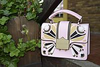 Модная женская сумка с орнаментом пастельного розового цвета