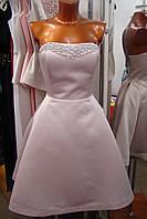 Вечернее короткое платье, корсет со стразами на груди