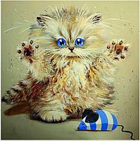 Котенок с мышкой (частичная выкладка) 24*24 см