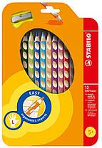 Олівці 12 кол. для шульги з точилом STABILO EASYcolors