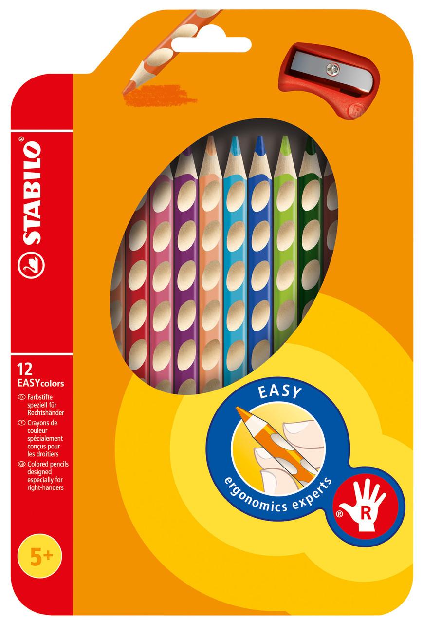 Олівці 12 кол для правші з точилом STABILO EASYcolors