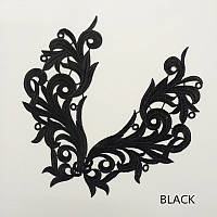 Кружевной фрагмент (лейс) Глория черный, 22х9 см. Цена за 1 шт