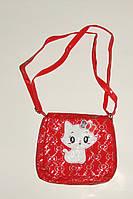 Сумка для девочки Кошка красная лаковая.