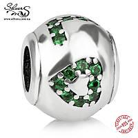 """Серебряная подвеска шарм Пандора (Pandora) """"LOVE. Зеленый""""  для браслета бусина"""