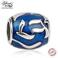 """Серебряная подвеска шарм Пандора (Pandora) """"Синие волны""""  для браслета бусина"""