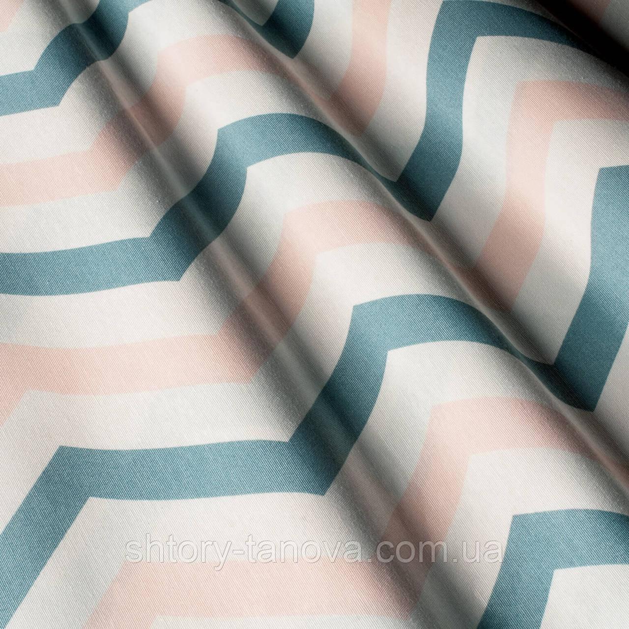 Декоративная ткань с принтом зиг-заг, тефлоновое покрытие