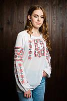 Модная  подростковая вышитая блуза из шифона белая