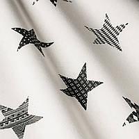 Декоративная ткань с принтом чёрные звёзды, тефлоновое покрытие
