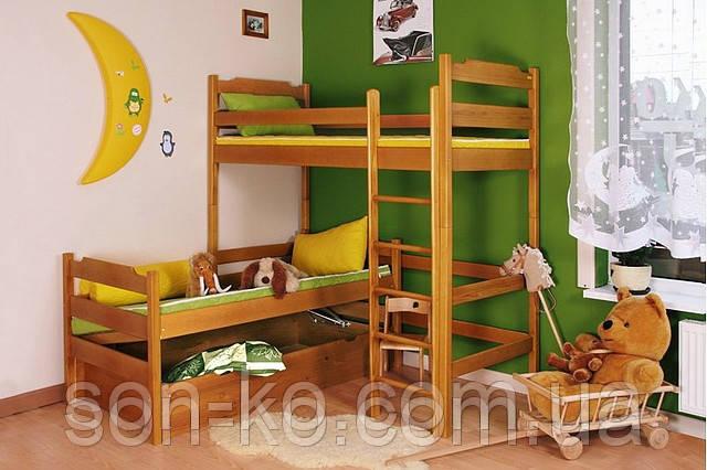 Двоярусне ліжко з масиву буку Тріо