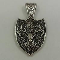 Священный Олень / Амулет Викинг / Серебрение /    Талисман   обновления, плодородия и изобилия. 4x2 см