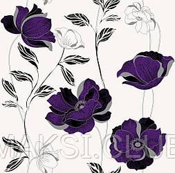 Обои бумажные, крупные цветы, белые, Ессения 1274, 0,53*10м
