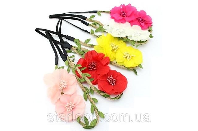 повязка с большими цветами