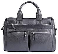 Мужская сумка для ноутбука SHVIGEL выполнена из натуральной кожи в черном цвете (00975)