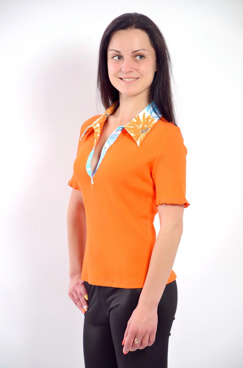 Футболка рубашка оранжевая трикотажная  арт 121199