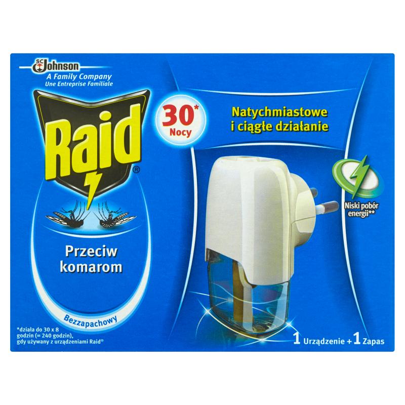 Фумигатор Raid + жидкость против комаров 30 ночей 21мл