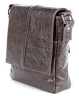 Кожаная наплечная мужская сумка SHVIGEL в коричневом цвете 00979