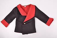 Пиджак для девочки стрейчевый (цв.черный/красный) пиджак Рост:110,122
