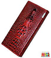 Женский кошелёк Wild Alligator c объёмным рисунком крокодила Красный с чёрным