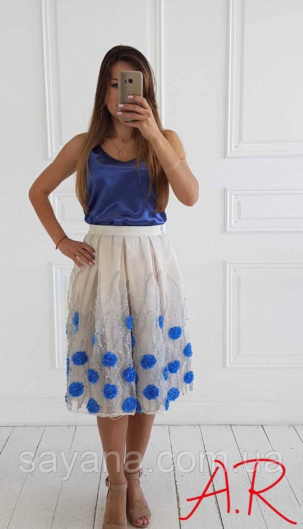 a79fd7dcd57 Купить Женскую фатиновую юбку с цветочными аппликациями АР-58-0717 ...