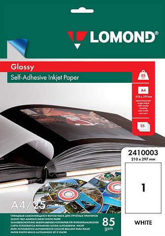 Односторонняя глянцевая самоклеящаяся фотобумага для струйной печати, А4, 85 г/м2, 25листов