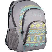 Рюкзак Kite 950 Style-1 K16-950L-1 серый с орнаментом школьный детский для девочек