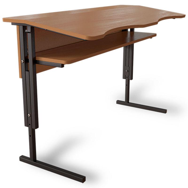 Антисколиозный стол Аудиторный регулируемый по высоте с царгой и полкой 2-х местный для школьников