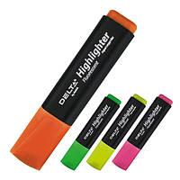 Маркер текстовый клиновидный, 2-4 мм цвет: жёлтый, зеленый, оранжевый, розовый.