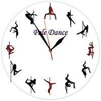 """Настенные часы """"Pole Dance"""" из стекла"""