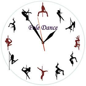 """Настінні годинники """"Pole Dance"""" із скла"""