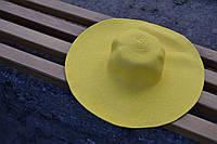 Стильная женская летняя пляжная шляпа с широкими полями желтого цвета