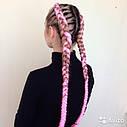 Канекалон ярко-розовый 60 см в плетении, фото 3