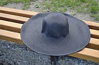 Стильная женская летняя пляжная шляпа с широкими полями черного цвета