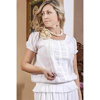 Белая нарядная блуза на резинке, фото 1