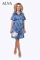 Модное летнее женское платье свободного кроя с открытыми плечами
