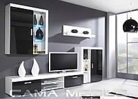 SAMBA A Современная Гостиная стенка белый/черный глянец CAMA