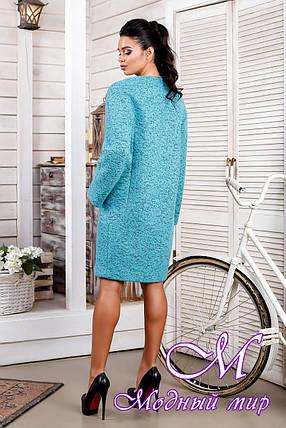 Женское бирюзовое демисезонное пальто из букле (р. 44-62) арт. 1018 Тон 10, фото 2