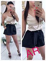 Женские шелковые шорты с поясом, 4 цвета