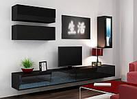 VIGO XII Современная Гостиная стенка черный/черный глянец CAMA