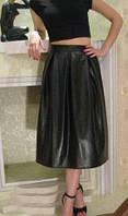 """Юбка """"Трапеция"""" экокожа, длина ниже колен, юбка для настоящих модниц, разные размеры."""